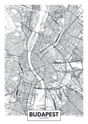Ausführliche Vektorplakat-Stadtplan Budapest