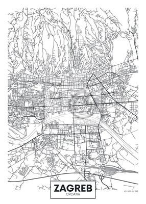 Ausführliche Vektorplakat-Stadtplan Zagreb