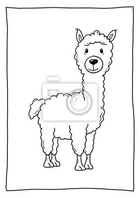 Ausmalbild Alpaka Notebook Sticker Wandsticker Kinderkrippe