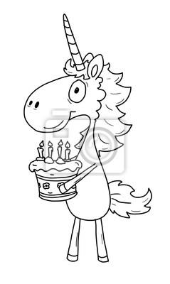 Sticker Ausmalbild Einhorn Geburtstag