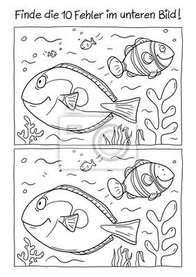 Ausmalbild Fische Notebook Sticker Wandsticker Dory Korallenriff