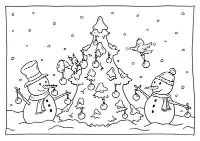 Ausmalbild Weihnachten Notebook Sticker Wandsticker Ferienzeit
