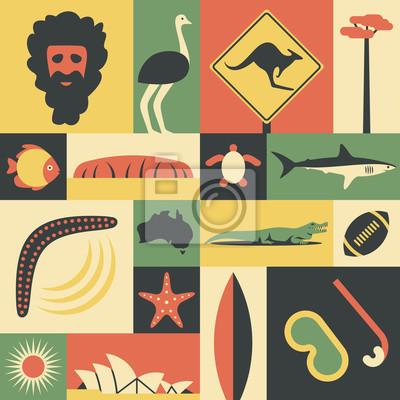 Australia, vector flat illustration, icon set, landmark. Man, ostrich, road sign, tree, fish, mountain, turtle, shark, boomerang, map world, starfish, crocodile, sport, sun, opera, surfing, mask