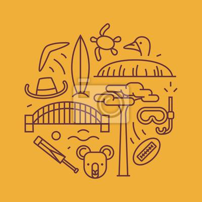 Australia, vector outline illustration, pattern. boomerang, hat, serf, bridge, cricket, koala, tree Baobab, sport, mountain Uluru, ostrich, turtle