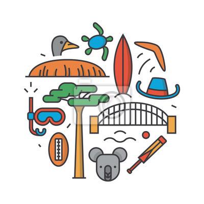 Australia, vector outline illustration, pattern, white background: boomerang, hat, serf, bridge, cricket, koala, tree Baobab, sport, mountain Uluru, ostrich, turtle