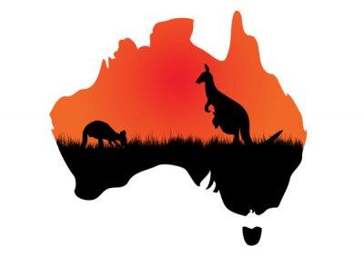 Sticker Australian Karte mit kangaaroo