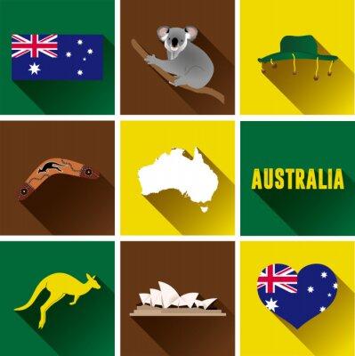 Sticker Australien Flat Icon Set. Set von Vektor-Grafik-flache Symbole, die Wahrzeichen und Symbole von Australien.