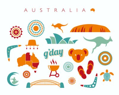 Sticker Australien Icon-Set - Vektor-Illustration