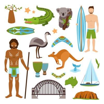 Sticker Australien Icons Set