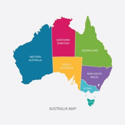 Sticker Australien-Karte Farbe mit REGIONEN flache Bauweise Videos