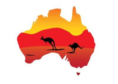 Sticker Australien-Karte und zwei Hopping kangaroo