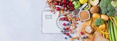 Sticker Auswahl von gesunden reichen Faserquellen vegane Nahrung zum Kochen