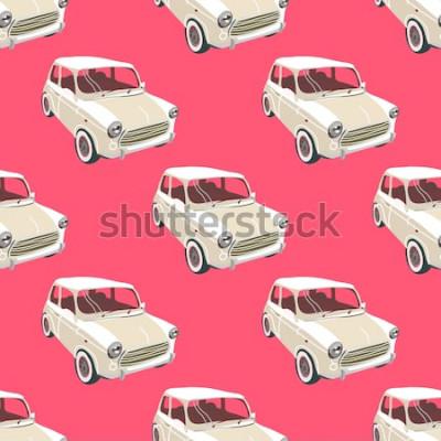 Sticker Autos Hintergrund. Retro Auto Vektor