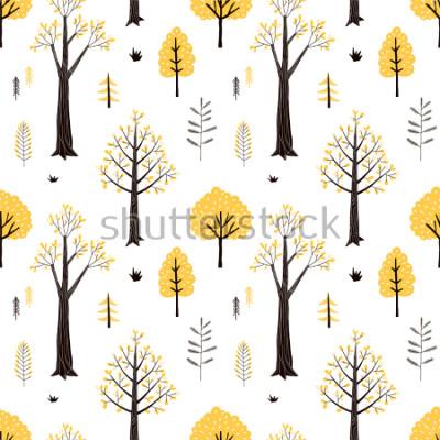 Sticker autumn forest pattern
