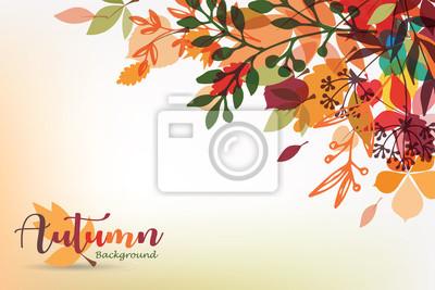 Sticker autumn leaves stylized background, autumn seasonal banner template