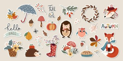 Sticker Autumn stickers collection with cute seasonal elements