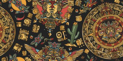 Sticker Aztec sun stone, golden totem and mayan glyphs seamless pattern. Ancient Maya Civilization background. Mexican mesoamerican culture