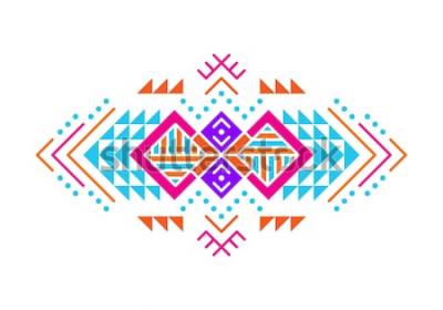 Sticker Aztekische Artverzierung. Indianisches dekoratives Musterdesign. Stammes-dekorative Vorlage. Ethnische Verzierung. Bunter Hintergrund.