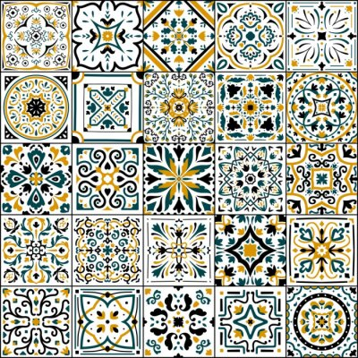 Sticker Azulejo tile. Spanish and Portugal national patchwork. Ornamental flower pattern. Antique arabesque cover. Traditional mosaic background with floral elements. Vector oriental flooring