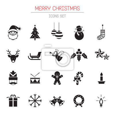 B & W-Ikonen eingestellt: Weihnachts Objekte