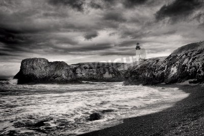 Sticker B&W of lighthouse on coast in Newport, Oregon.