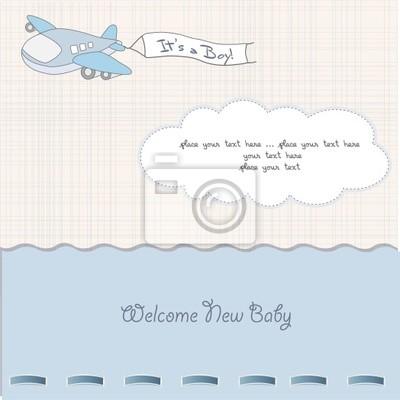 Baby-Mitteilungs-Karte mit dem Flugzeug