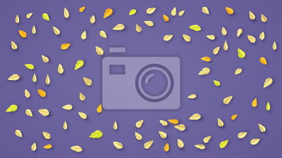Background leaves fall on the ground. in Autumn season. Leaves background. Paper craft and cut style. vector, illustration.