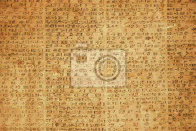 Sticker Background of ancient Babylonian or Persian cuneiform symbols on rock tablets