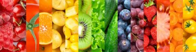 Sticker Background of fruits, vegetables and berries. Fresh food