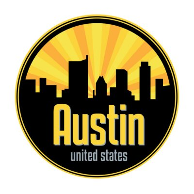 Badge, label or stamp with Austin skyline