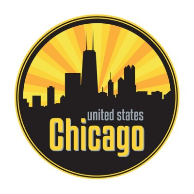 Badge, label or stamp with Chicago skyline