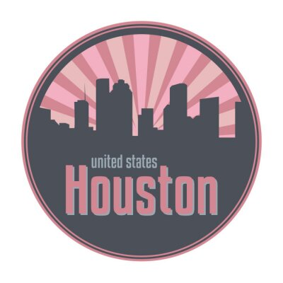 Badge, label or stamp with Houston skyline