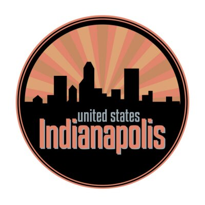 Badge, label or stamp with Indianapolis skyline