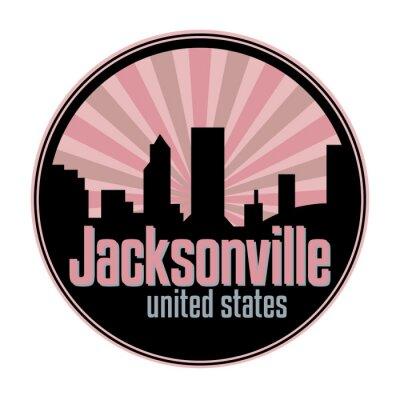 Badge, label or stamp with Jacksonville skyline