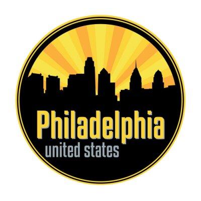 Badge, label or stamp with Philadelphia skyline