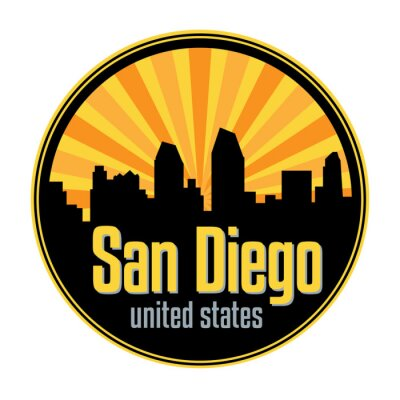 Badge, label or stamp with San Diego skyline