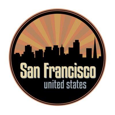 Badge, label or stamp with San Francisco skyline