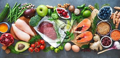 Sticker Balanced diet food background