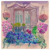 Balkon garten, blühende blumen, latice, vintage-balkontür und fassade.  aquarell- 33d056b0d4