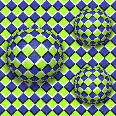 Sticker Bälle rollen herunter. Abstract vector nahtlose Muster mit optischer Täuschung der Bewegung.