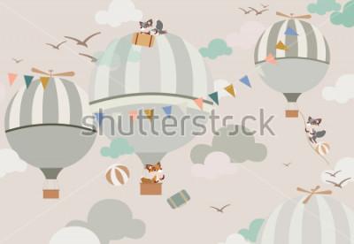 Sticker Ballons im Himmel zu den Füchsen in sanften Tönen