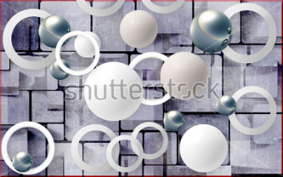 Sticker Balls and circles on an abstract background. Photo wallpaper for wall. 3D rendering.