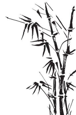 Sticker Bambus Zweige isoliert auf den weißen Hintergrund. Vektor