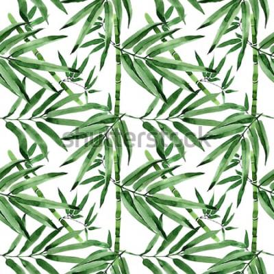 Sticker Bambusbaummuster der tropischen Blätter in einer Aquarellart. Aquarellwildblätter für Hintergrund, Beschaffenheit, Verpackungsmuster, Rahmen oder Grenze.