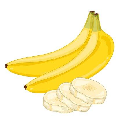 Sticker Banane isoliert auf weißem Hintergrund.