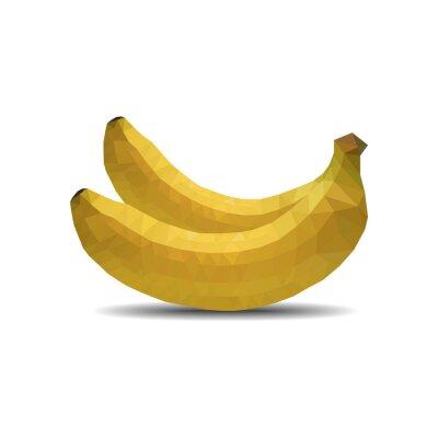 Sticker Bananen Polygon auf weißem Hintergrund isolieren Vektor-Illustration eps 10