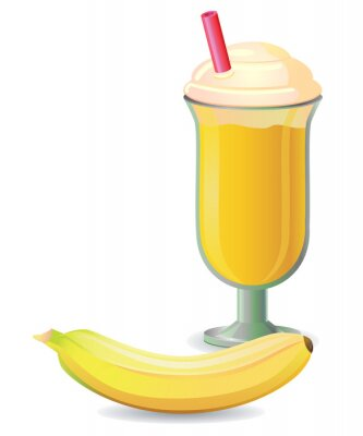 Sticker Bananen-Shake mit Stroh Vektor-