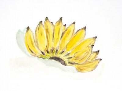 Sticker Bananenwasserfarbe lackiert