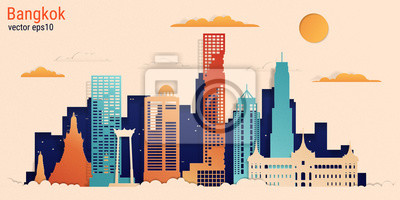 Bangkok city colorful paper cut style, vector stock illustration. Cityscape with all famous buildings. Skyline Bangkok city composition for design.