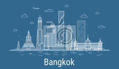 Bangkok city line art Vector illustration with all famous buildings. Cityscape.